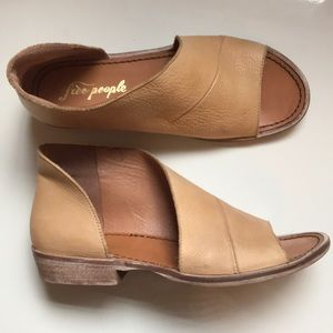 FREE PEOPLE tan leather wrap sandal